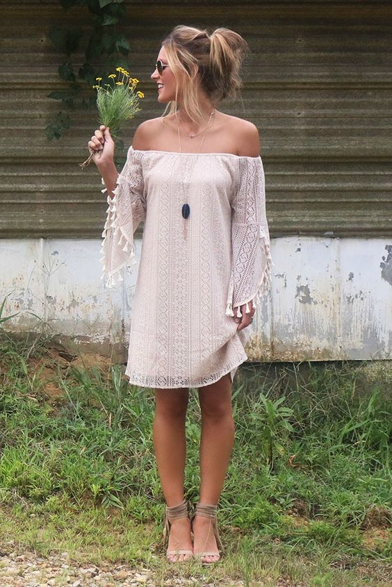 05-blush-boho-lace-mini-dress-with-tassel-sleeves-and-an-off-the-shoulder-neckline-ankle-strap-heels
