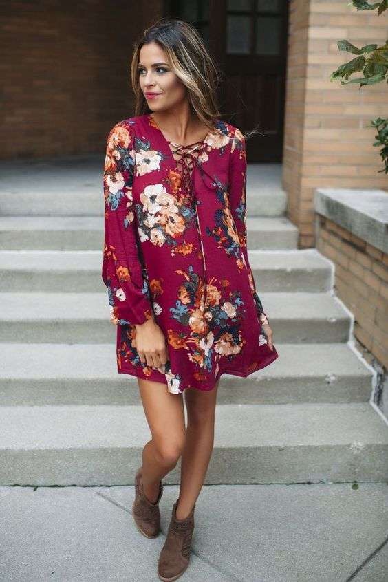 06-fuchsia-mini-dress-with-lacing-up-long-sleeves-and-floral-prints-worn-with-brown-ankle-booties