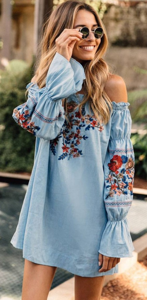07-light-blue-off-the-shoulder-mini-dress-with-bell-sleeves-and-colorful-floral-embroidery