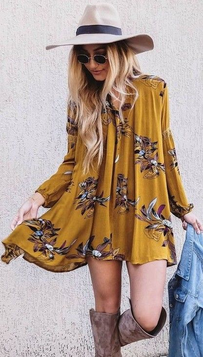 10-a-mustard-mini-dress-with-long-sleeves-and-a-floral-print-with-suede-boots-and-a-hat