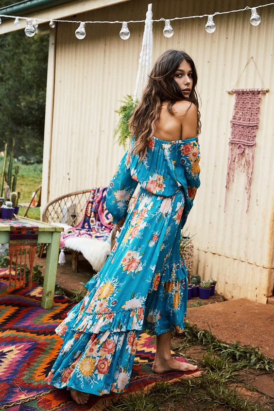 16-off-the-shoulder-teal-dress-with-long-sleeves-and-a-ruffled-skirt-colorful-floral-printing